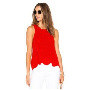 Autumn Cashmere Scallop Shaker Tank Red Apple